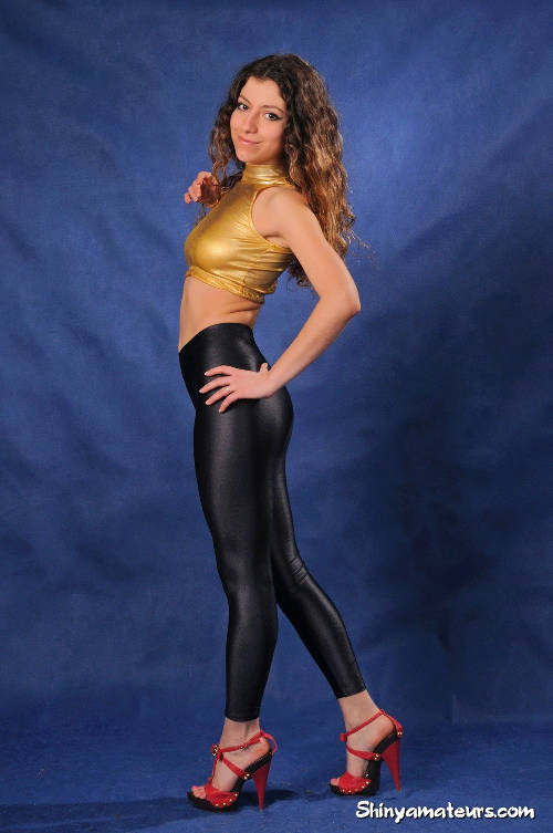 Perfect Ass Packed In Shiny Black Spandex Pants 1