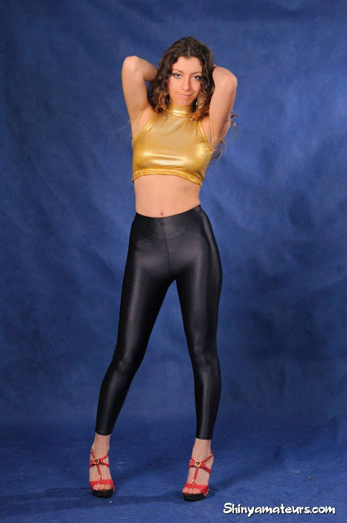 Perfect Ass Packed In Shiny Black Spandex Pants 2